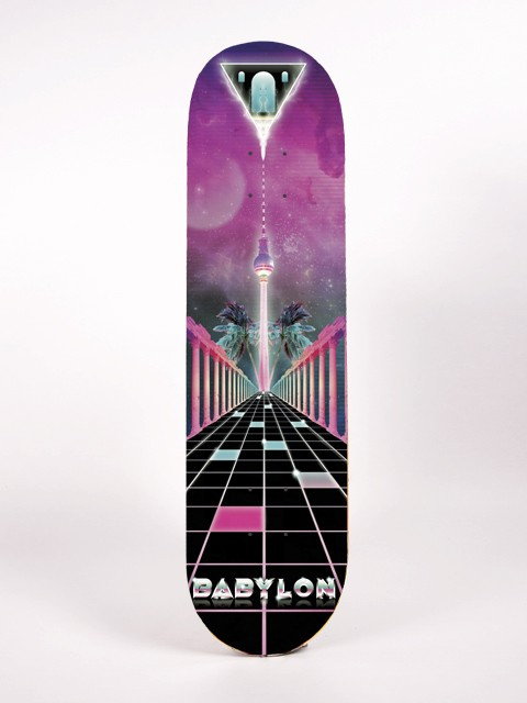 babylon, berlin, skate, boarddesign, kreuzberg, tron, 80s, pyramid, future, cheesy, ironic, vintage